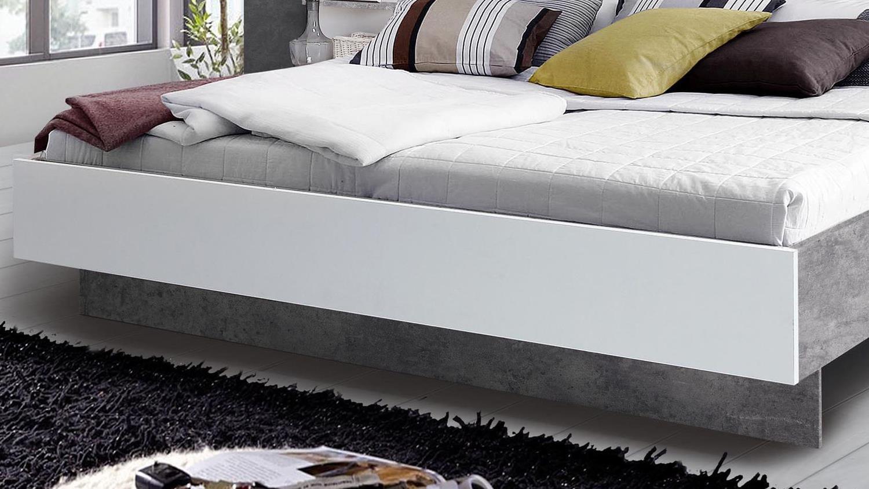 bettanlage ginger bett mit nachttisch wei und betonoptik lichtgrau. Black Bedroom Furniture Sets. Home Design Ideas