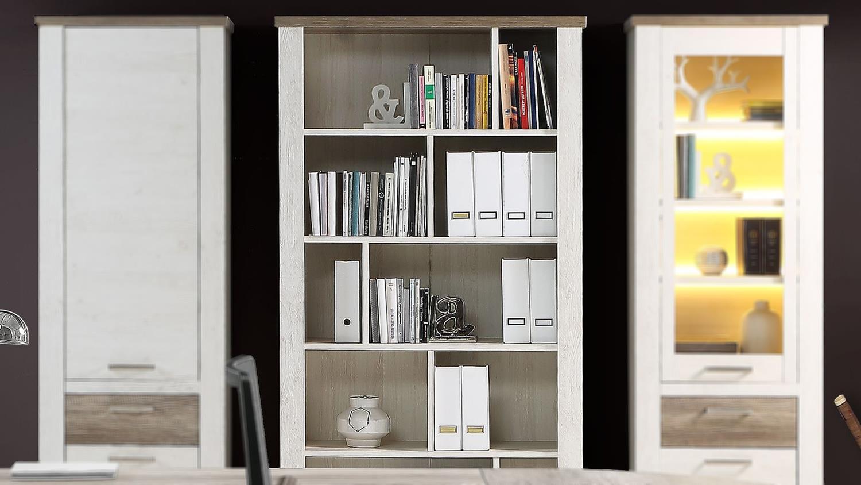 regal duro b cherregal b roregal in pinie wei eiche antik. Black Bedroom Furniture Sets. Home Design Ideas