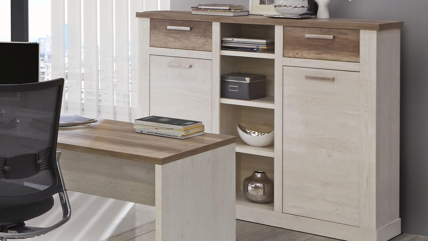arbeitszimmer duro b ro set home office in pinie wei und eiche antik. Black Bedroom Furniture Sets. Home Design Ideas
