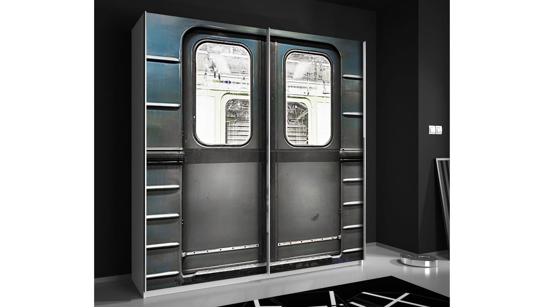 PLAKATO Schrank in grau und Motiv Metro