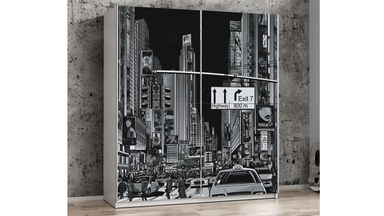 Schwebeturenschrank Plakato Schrank In Weiss Und Motiv New York