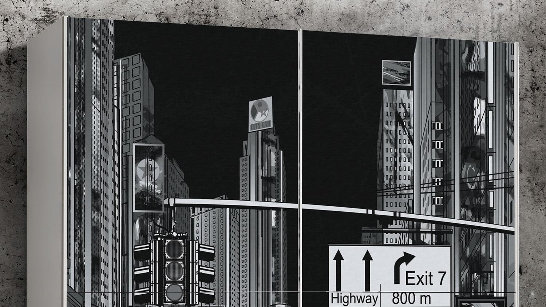 Schwebetürenschrank PLAKATO Schrank in weiß und Motiv New York