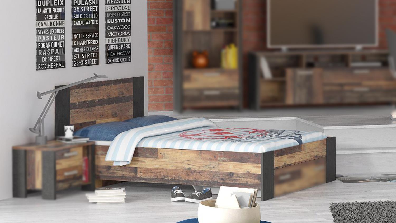 bett clif f r jugendzimmer vintage altholz und beton dunkelgrau 140. Black Bedroom Furniture Sets. Home Design Ideas