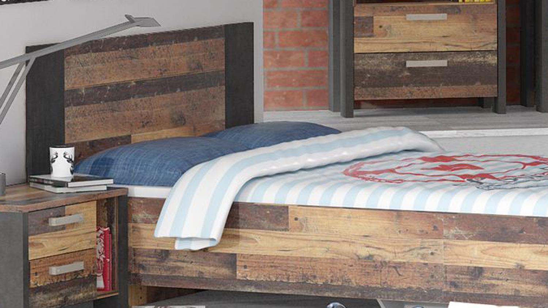 Jugendbett Clif Old Wood Vintage Beton Dunkelgrau 140x200