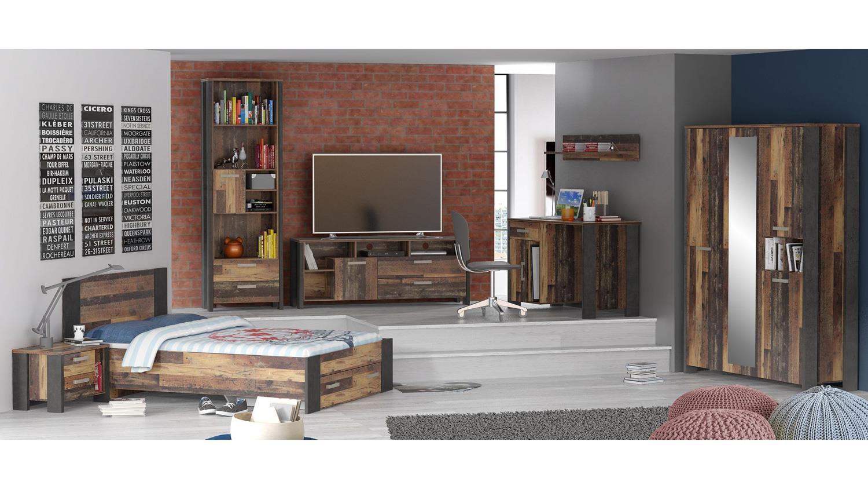 Bett clif f r jugendzimmer vintage altholz und beton for Jugendzimmer bett 140