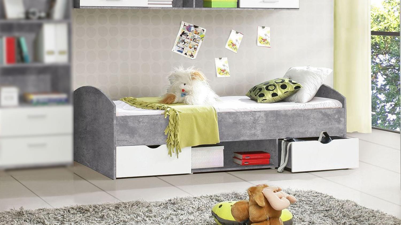 bett lupo jugendbett jugendzimmer in beton grau und wei. Black Bedroom Furniture Sets. Home Design Ideas