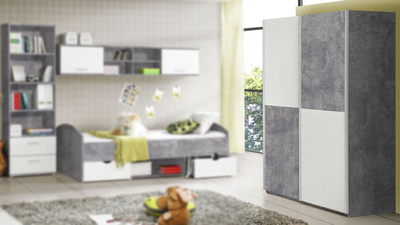Schwebeturenschrank Lupo Schrank Jugendzimmer In Beton Grau Und Weiss