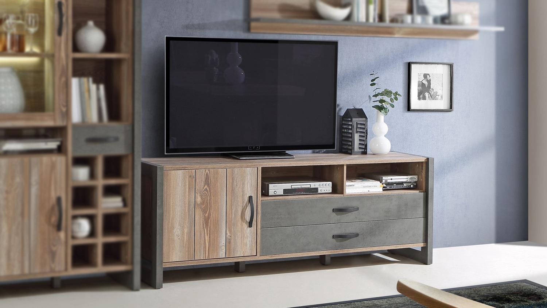 Tv Board Note Lowboard Unterschrank In Picea Kiefer Und Beton Grau