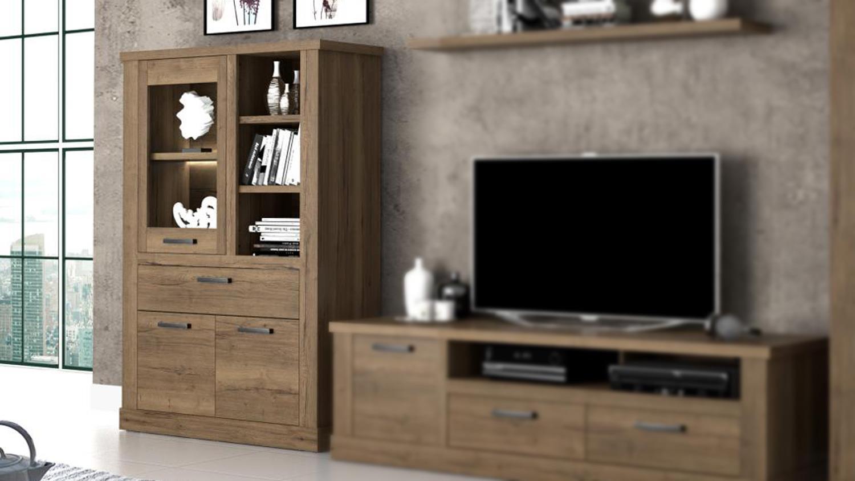 vitrine carloa highboard schrank regal f r wohnzimmer in eiche tabak. Black Bedroom Furniture Sets. Home Design Ideas