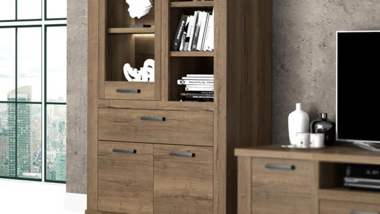Vitrine Carloa Highboard Schrank Regal Fur Wohnzimmer In Eiche Tabak