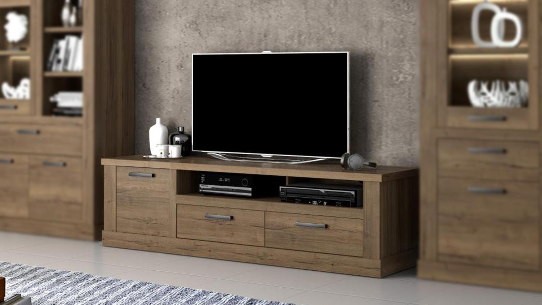 TV-Board CARLOA Lowboard Unterschrank Kommode Wohnzimmer Eiche Tabak