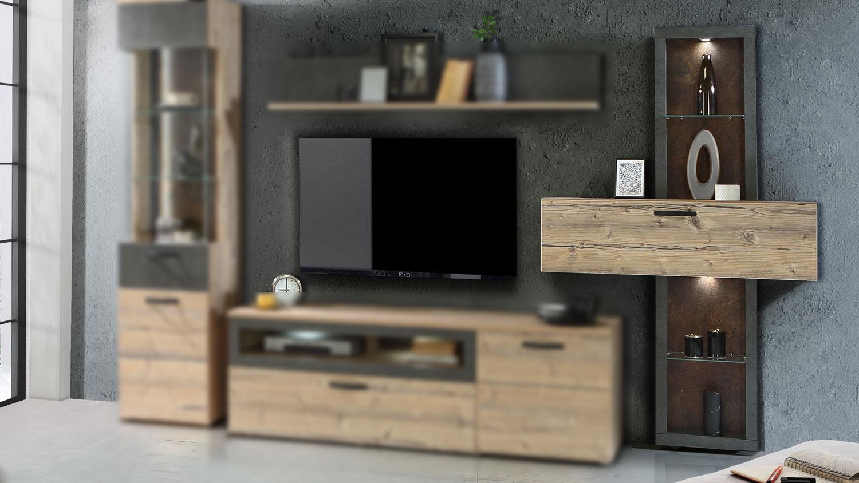 Regal KALOMIRA Vitrine Wohnzimmer in Fichte und Beton