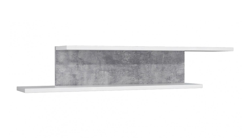 Wandboard CANMORE Regal in weiß Hochglanz und Beton grau