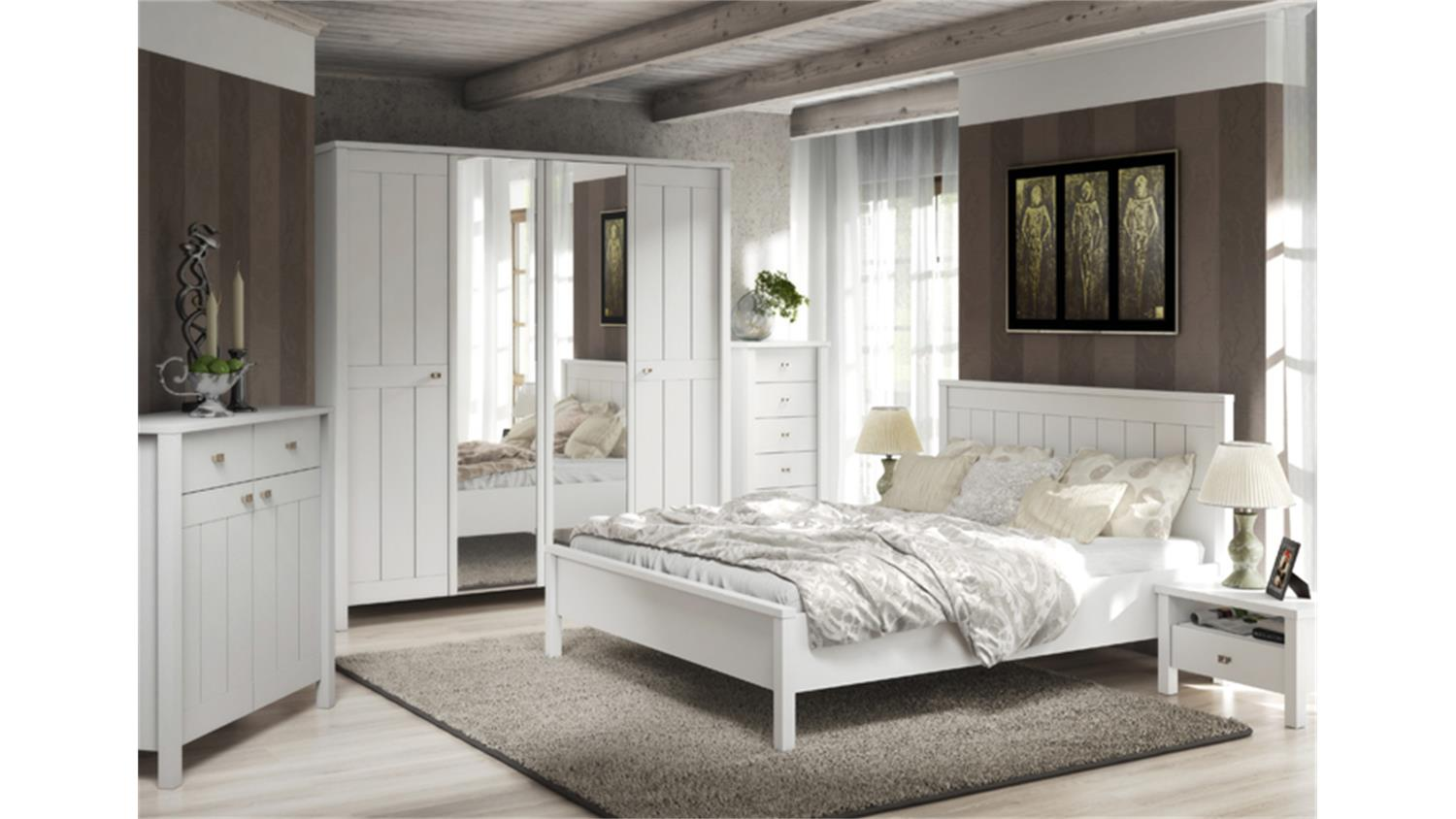 schlafzimmer brighton in wei super matt landhaus style. Black Bedroom Furniture Sets. Home Design Ideas