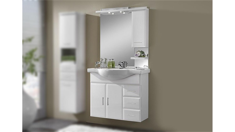 Komplettbad WIEN 2 weiß hochglanz Beleuchtung Waschbecken ~ Waschbecken Wien