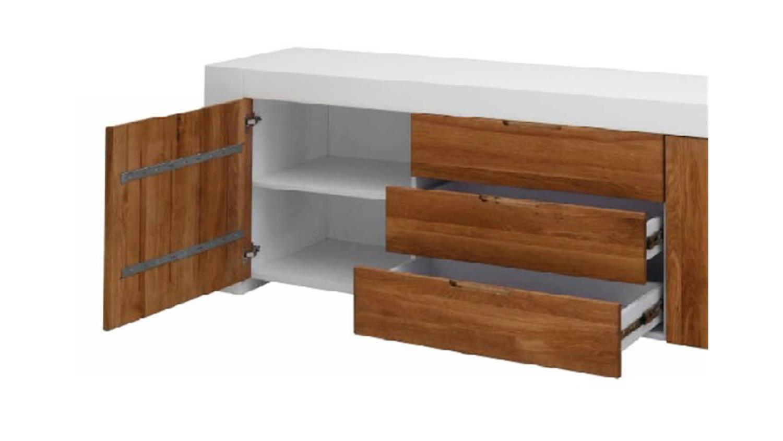 sideboard calma wei lackiert mit eiche massiv fronten 228cm. Black Bedroom Furniture Sets. Home Design Ideas
