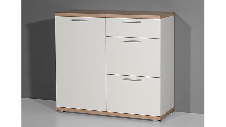 kommode 2 top wei und sonoma eiche germania. Black Bedroom Furniture Sets. Home Design Ideas