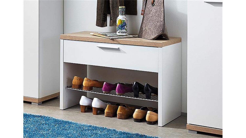 schuhbank top wei und sonoma eiche f r 3 paar germania. Black Bedroom Furniture Sets. Home Design Ideas