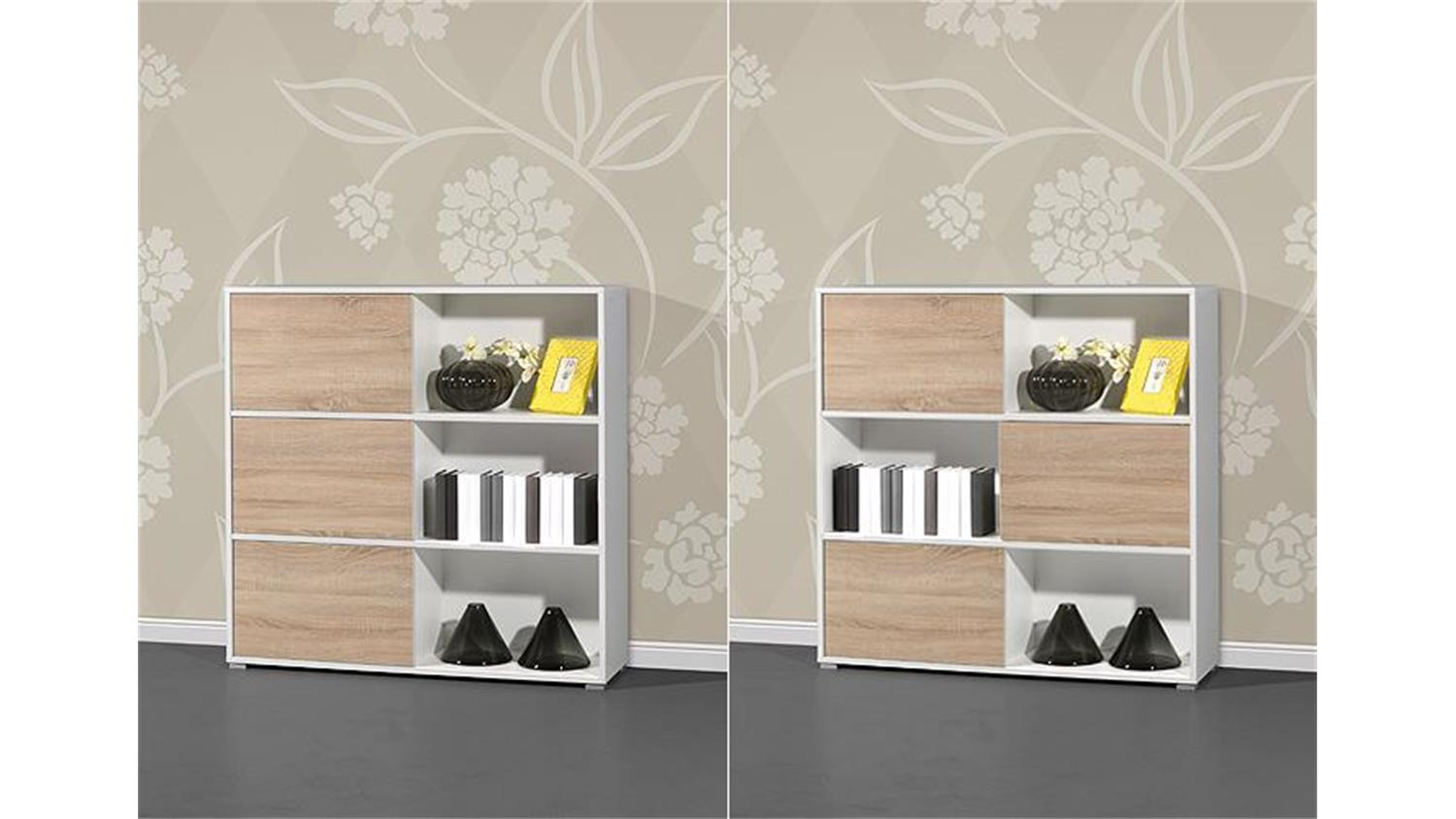 regal 2 shine b roschrank wei sonoma eiche germania. Black Bedroom Furniture Sets. Home Design Ideas