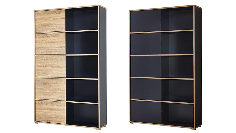 regal slide anthrazit und sonoma eiche 10 f cher germania. Black Bedroom Furniture Sets. Home Design Ideas