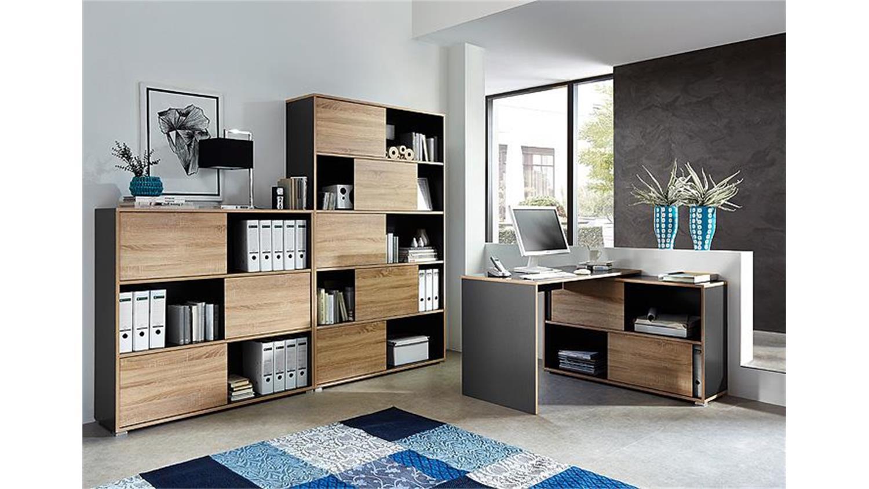 b ro set slide anthrazit sonoma eiche 3 teilig germania. Black Bedroom Furniture Sets. Home Design Ideas