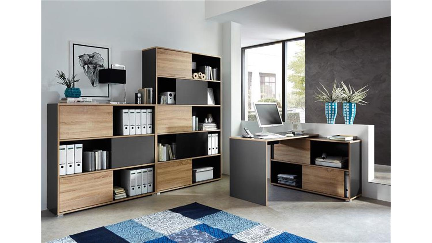 b ro set slide anthrazit sonoma eiche 3 teilig germania. Black Bedroom Furniture Sets. Home Design Ideas