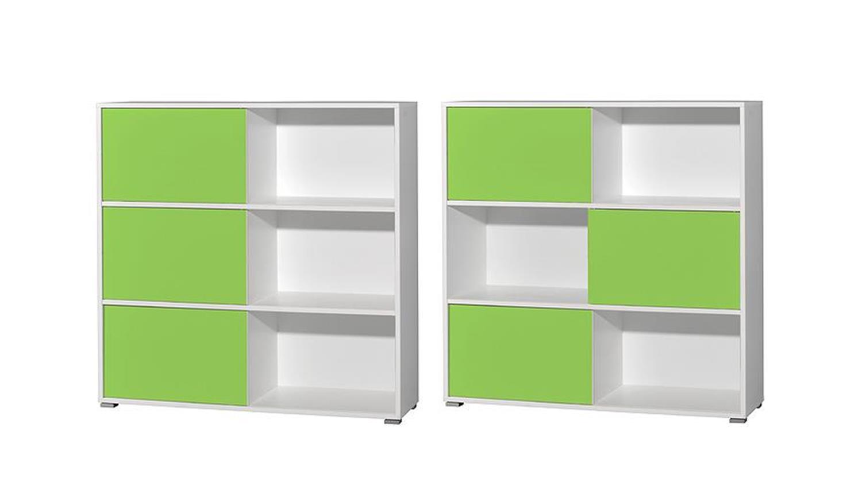 regal slide wei und gr n 6 f cher germania. Black Bedroom Furniture Sets. Home Design Ideas