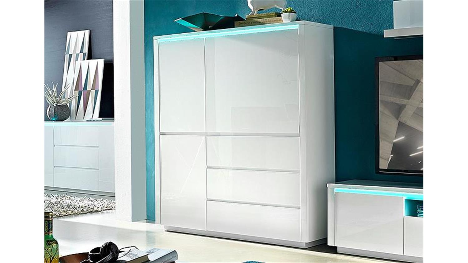 highboard chicago in wei hochglanz inklusive rgb led. Black Bedroom Furniture Sets. Home Design Ideas