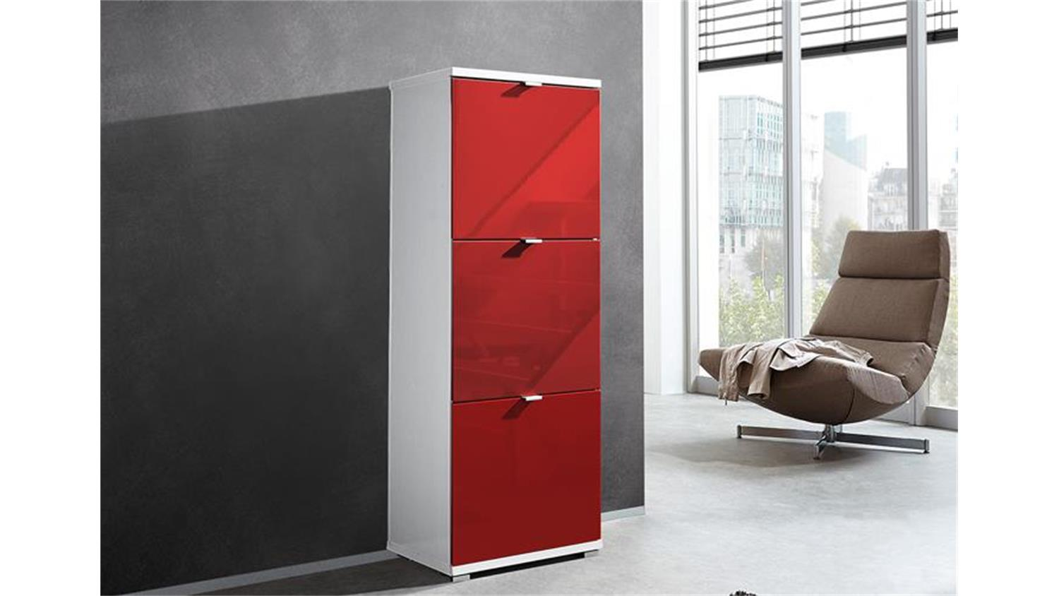schuhschrank colorado front hochglanz rot germania. Black Bedroom Furniture Sets. Home Design Ideas