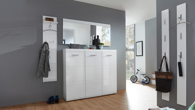 garderobenpaneel 3526 adana wandpaneel in wei hochglanz von germania. Black Bedroom Furniture Sets. Home Design Ideas