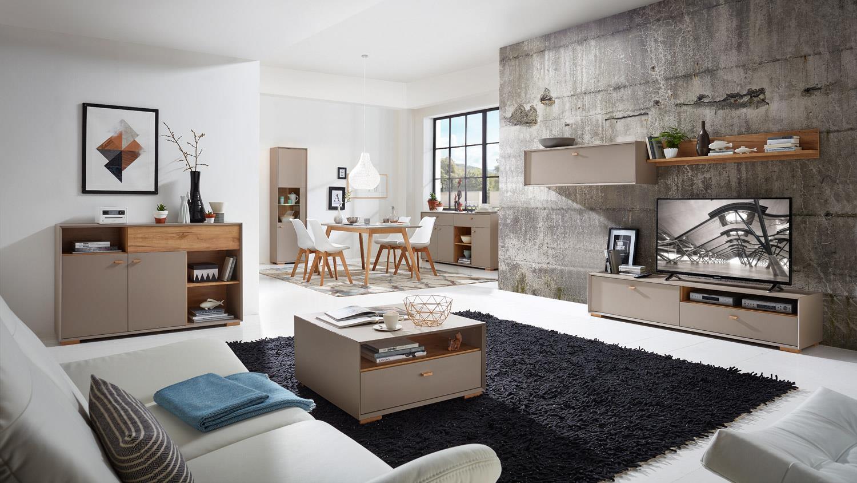 wohnwand calvi anbauwand in steingrau und navarra eiche von germania. Black Bedroom Furniture Sets. Home Design Ideas