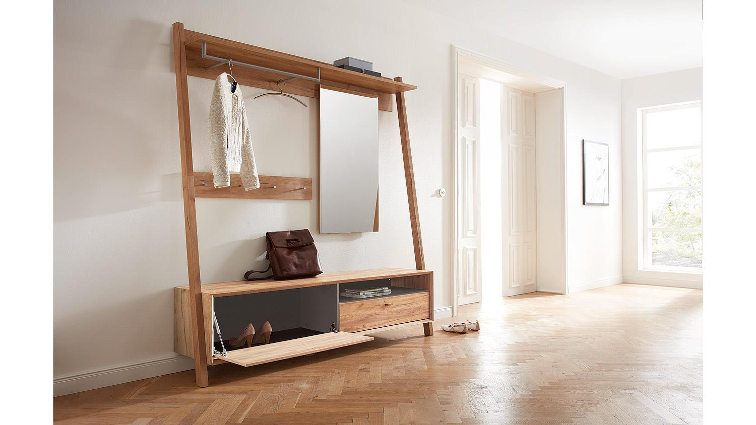 garderobe calvi flurm bel in navarra eiche und steingrau von germania. Black Bedroom Furniture Sets. Home Design Ideas