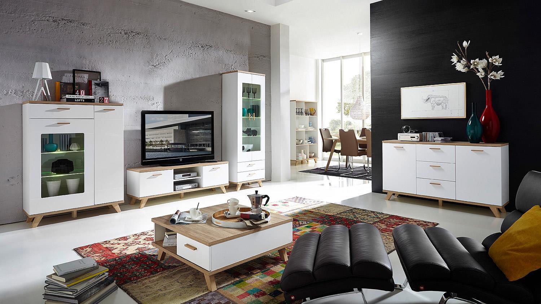 Couchtisch Oslo Wohnzimmer Tisch weiß matt Sanremo Eiche