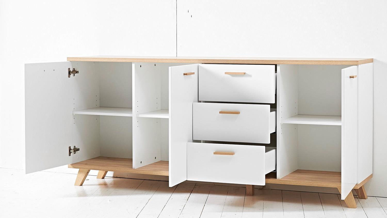 sideboard oslo anrichte kommode in wei matt sanremo eiche von germania. Black Bedroom Furniture Sets. Home Design Ideas