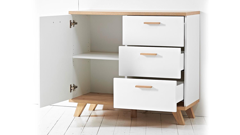 kommode oslo sideboard anrichte wei matt sanremo eiche. Black Bedroom Furniture Sets. Home Design Ideas
