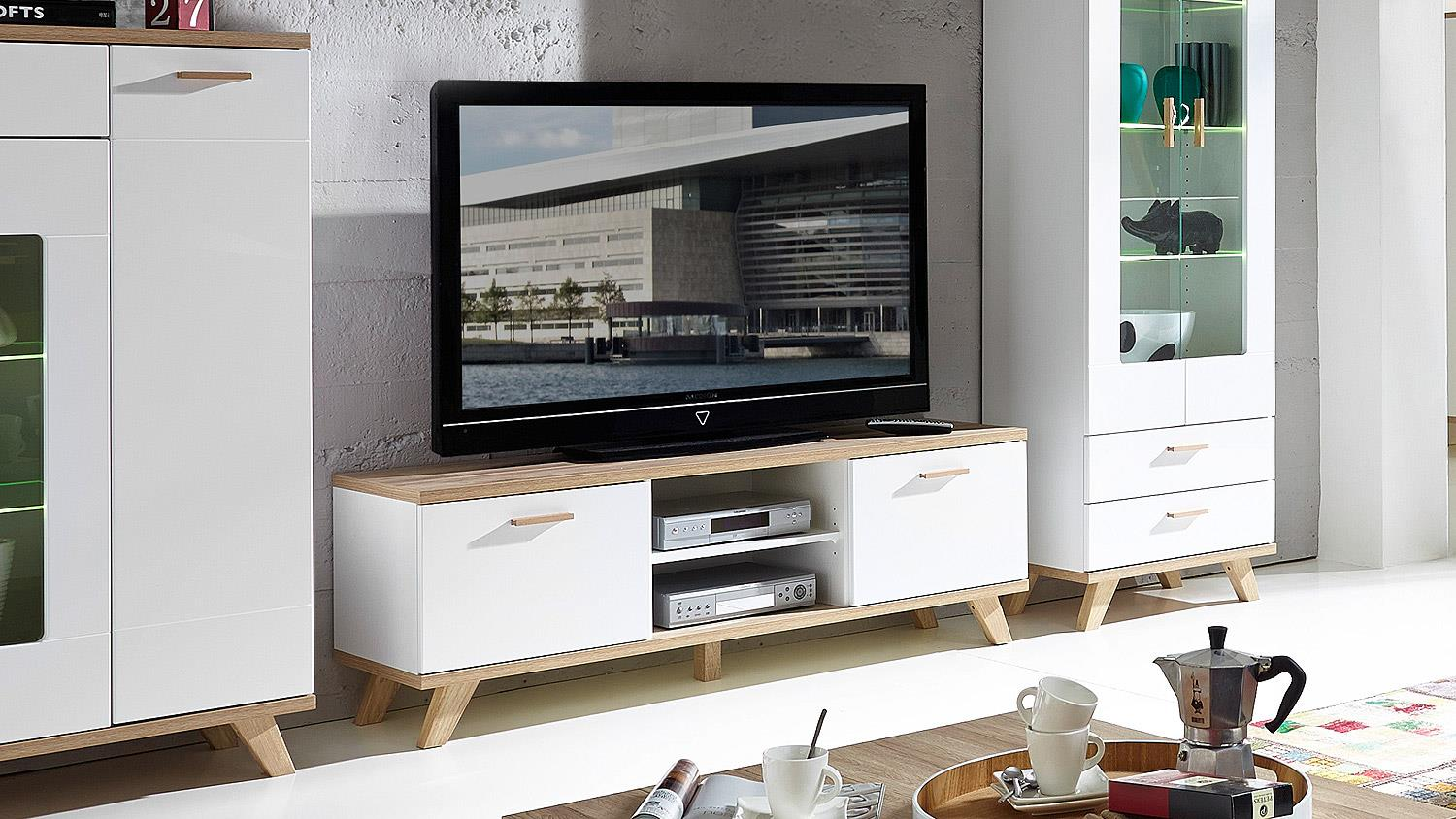 lowboard oslo tv board in wei matt und sanremo eiche von germania. Black Bedroom Furniture Sets. Home Design Ideas