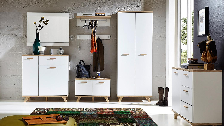 garderobenschrank oslo garderobe wei matt sanremo eiche von germania. Black Bedroom Furniture Sets. Home Design Ideas
