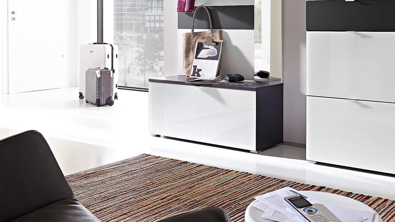 ALAMEDA Schuhschrank in weiß Glas und anthrazit von Germania
