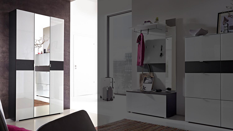 garderobenschrank alameda garderobe wei glas anthrazit. Black Bedroom Furniture Sets. Home Design Ideas