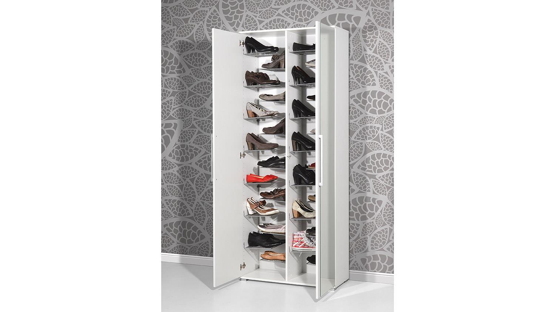 Schuhschrank 3107 Garderobe Flurmöbel in weiß mit Spiegel von Germania