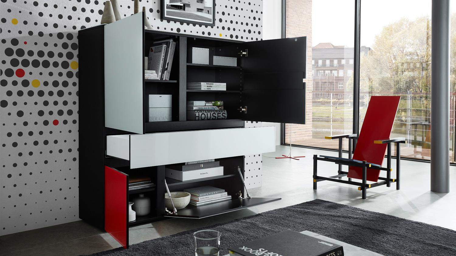 highboard ideeus sideboard kommode in schwarz und glas. Black Bedroom Furniture Sets. Home Design Ideas