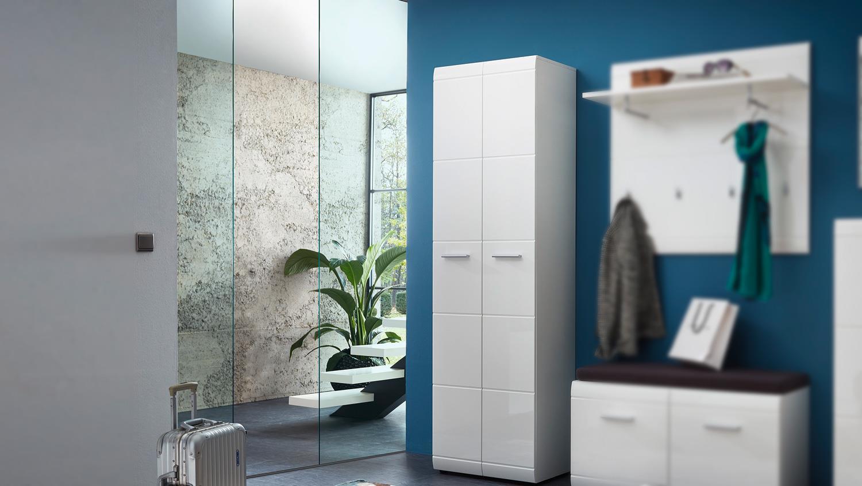 garderobenschrank 3577 adana schrank in wei hochglanz von germania. Black Bedroom Furniture Sets. Home Design Ideas