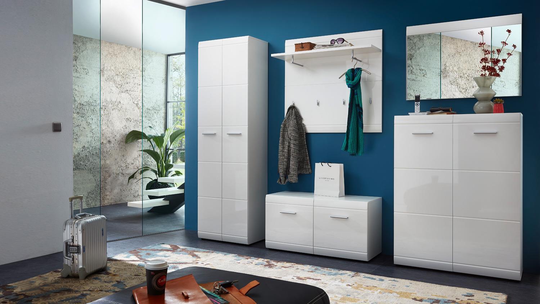 garderobenset 2 adana garderobe flurm bel wei hochglanz. Black Bedroom Furniture Sets. Home Design Ideas