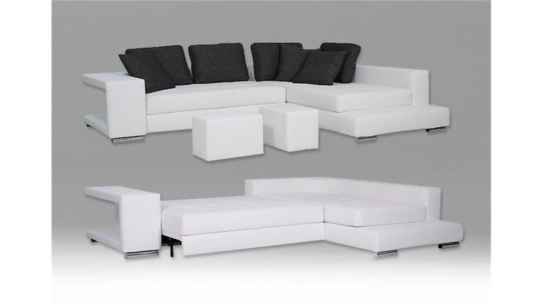 Ecksofa KING Sofa in schwarz inkl. 2 Hocker und Bettkasten