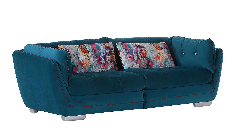 Megasofa blau  SANTA FEE Bezug blau Keder rot Kissen bunt 240 cm