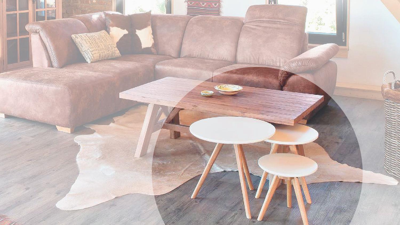 beistelltisch retro 3er set eiche massiv tischplatte wei. Black Bedroom Furniture Sets. Home Design Ideas