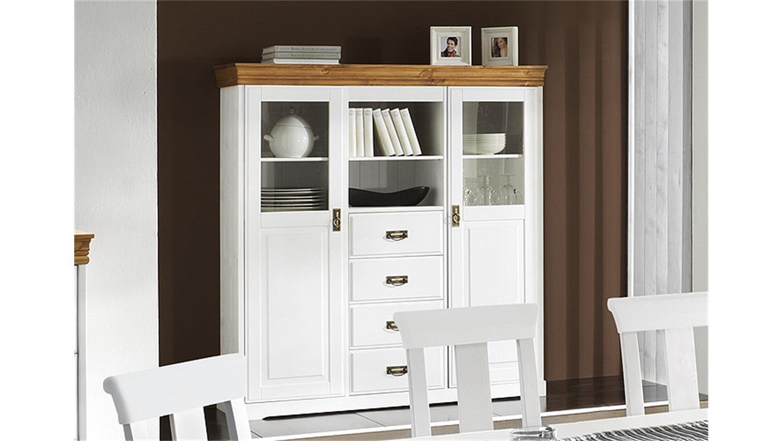 highboard rudolf kiefer massiv wei gewachst honig lackiert. Black Bedroom Furniture Sets. Home Design Ideas