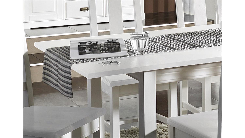 Esstisch massiv weiß  RUDOLF ausziehbar 150-197 cm Kiefer massiv weiß
