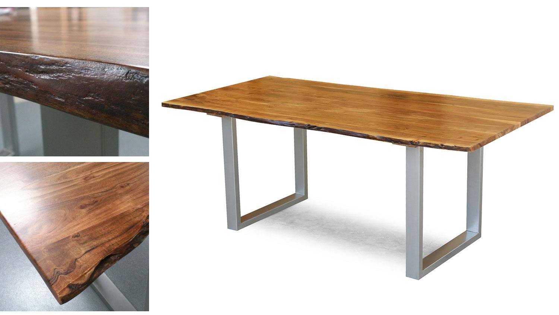 Massivholz tisch agra 180x90 akazie baumkante alu gestell for Tischplatte massivholz