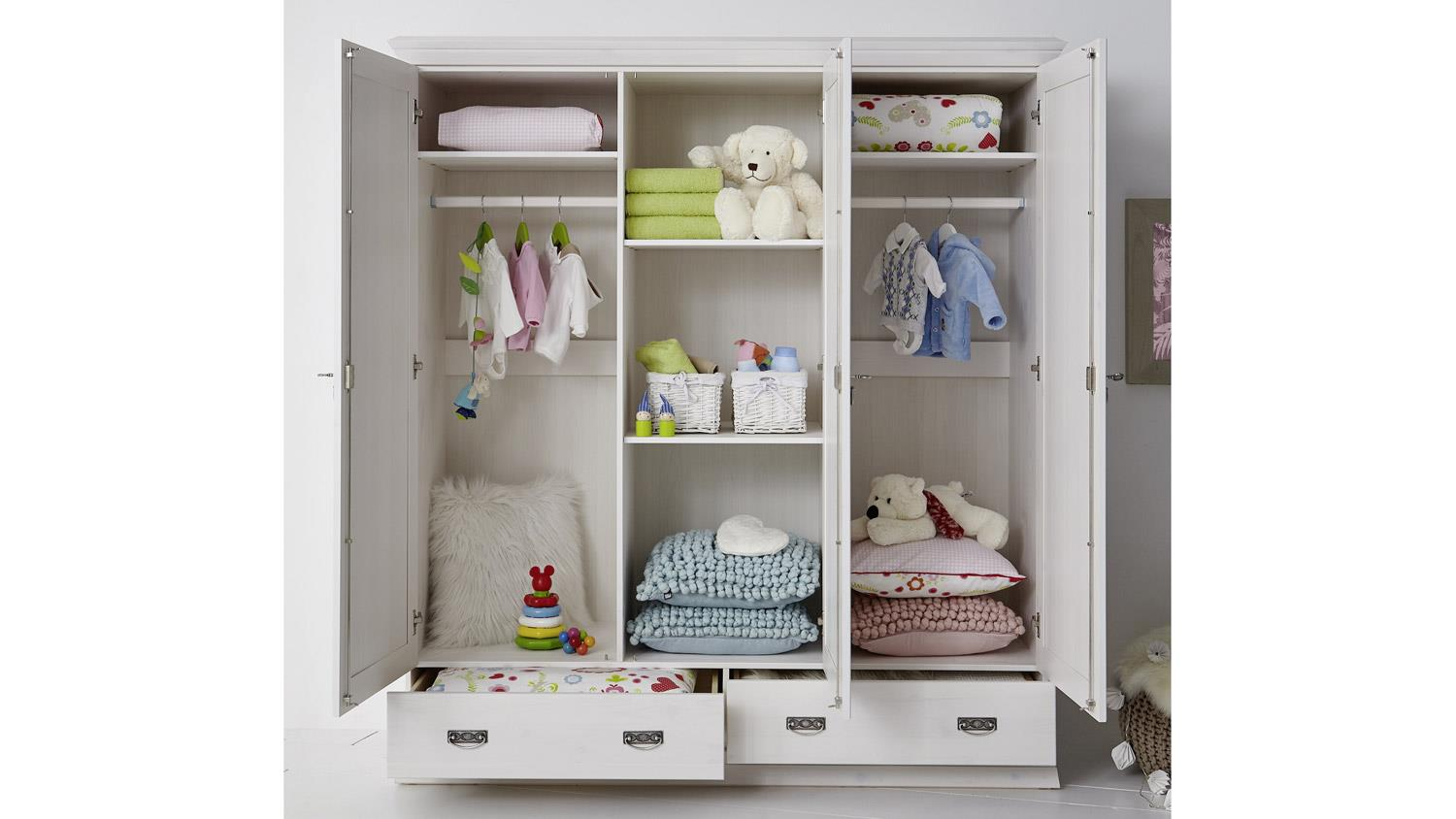 kleiderschrank odette babyzimmer schrank in kiefer wei massiv. Black Bedroom Furniture Sets. Home Design Ideas